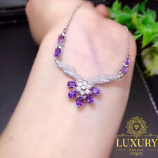 100% Natural Amethyst Solid 925 Sterling Silver Cocktail Flower Necklace