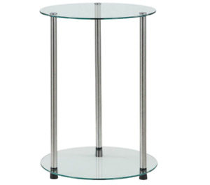 Convenience Concepts Designs2Go Classic Glass 2 Tier Round End Table