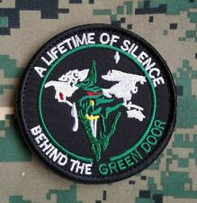 A LIFETIME OF SILENCE BEHIND THE GREEN DOOR TACTICAL EMBROIDERED HOOK PATCH *01