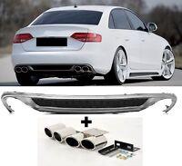 Für Audi A4 B8 8K RS4 S-Line S4 Look Heckstoßstane Spoiler Diffusor Endrohre