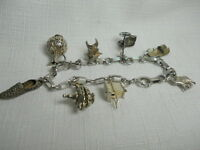 Sterling Silver 925 Vintage Estate CHARM Bracelet with Charms of the ORIENT Asia