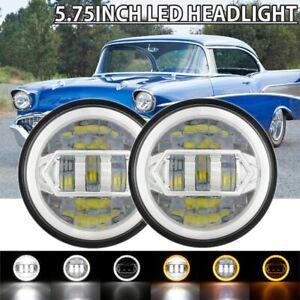 "Pair 5.75"" 5-3/4 LED Headlights DRL Hi/Lo Sealed Beam For Chevy Bel Air Corvette"