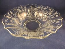 Fostoria Glass Chintz Pattern Crystal Baroque Large Flared Console Bowl
