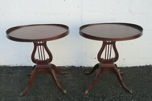 Mahogany Harp Shape Pair of Oval Side End Tables by Mersman 2428