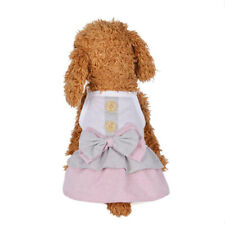 Pets Puppy Princess Dress Bowknot Button Skirt Trendy Clothes Apparel Costume BS