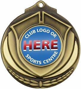 Shield Medal - Gold Trophy Sports Insert Medal M431 - Custom printed Free Ribbon
