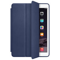 For iPad Air 2 Genuine Leather Smart Case Cover Slim Wake Dark Blue Tide New