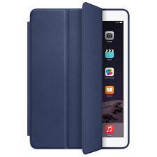 For iPad Air 2 Genuine Leather Smart Case Cover Slim Wake Dark Blue Tide New
