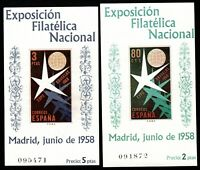 Sellos de España 1958  nº 1222/1223 Hojitas Bruselas SIN GOMA