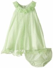 Bonnie Jean Baby Girls Lime Foil Dot Crystal Pleat Rosette Trapeze Dress Set 12M