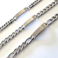 Custom Made Length Mens Silver Stainless Steel Curb Chain Engravable ID Bracelet
