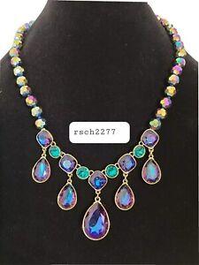 "Heidi Daus ""Emmy Worthy"" Beaded Crystal Dangle Necklace-Aurora Borealis-NEW-$127"
