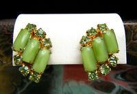 Pretty Vintage Spring Green Rhinestone Satin Glass Clip On Earrings Gold Tone