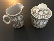 Schmid Design Folio China Brown Wicker & Circles - Creamer & Sugar Bowl Set