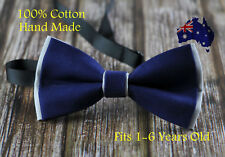 Boy Kids Baby Cotton Navy Blue Grey Bow Tie Bowtie Party Wedding 1-6 Years Old