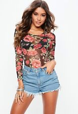 BNWT Missguided Mesh Body Size 8 Floral Fishnet Rose Top Suit Long Sleeve Black