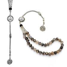 NEW -ALLAH- SERIES: Dragon Veins Agate (8 mm-33 Beads) Tesbih-Tasbih-Misbaha