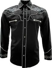 Men's Cowboy Shirt Camisa Vaquera El General Western Wear Black/White