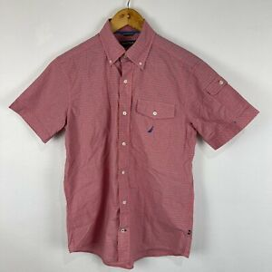 Nautica Mens Button Up Shirt Size Small Red Plaid Short Sleeve Collared 61.08