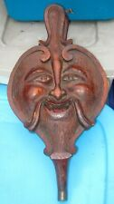 FIGURAL GROTESQUE FACE NATIVE BACK ANTIQUE CARVED OAK WOOD FIREPLACE BELLOWS