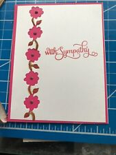 Sympathy Card Tiny Pink Flowers Cut Out, Green Leaves Hand Painted