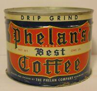 Old Vintage 1950s PHELAN'S COFFEE TIN 1 POUND GRAPHIC COFFEE TIN BEAUMONT TEXAS