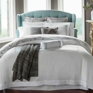 $458 SFERRA Cade King Flat Sheet 2 Pillowcases SET SILVER GRAY Embroidery ITALY