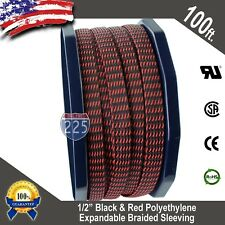 """100 FT 1/2"""" Black Red Expandable Wire Sleeving Sheathing Braided Loom Tubing US"""