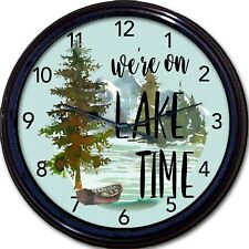 Lake Time Cabin Wall Clock Cottage Time Lodge Mountains Vacation Ski New 10""