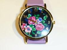 PRETTY WATCH WITH FLORAL DIAL - MAUVE STRAP - GUARANTEED - FREE UK P&P....CG1094