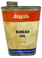 Jewel Paint Varnish Co Boiled Oil Advertising Tin Can Vintage One Pint 3/4 Full