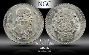 1966-MO MEXICO 1 PESO NGC MS 66 SILVER ONLY 8 GRADED HIGHER!!