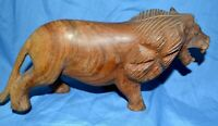 Vintage Lion Wood Sculpture Hand Carved Africa Figurine