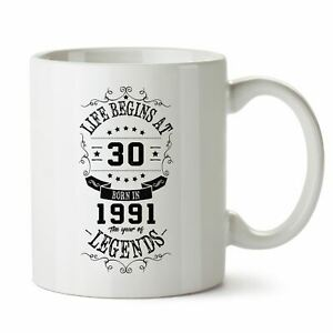 30th Birthday Gifts for Women Men - Life 1991 Funny Mugs Novelty Presents