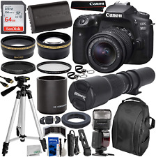 Canon Eos 90D Dslr Camera With Ef-S 18-55Mm  500/1000Mm Manual Preset Lens Esse