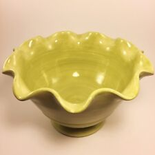 """Crate and Barrel Large 12"""" Wide By  7"""" Tall Light Green Ruffle Bowl"""
