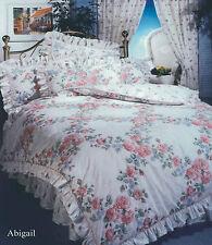 SINGLE BED DUVET COVER SET FRILLED FLORAL ABIGAIL PINK WHITE BLUE VINTAGE SET