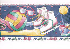 Sports Roller Blading Ice Skating Tennis Girl Pink Bow Blue Wall Paper Border