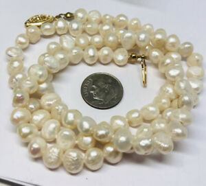 """25"""" MENS 7MM BAROQUE PEARL NECKLACE NEW FASHION WHITE BLING REAL AUTHENTIC"""