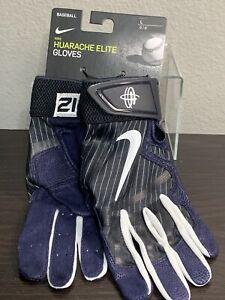 ⚾️ NEW Nike Huarache Elite Batting Gloves Baseball Navy Yankees Pinstripes LARGE