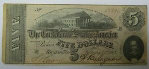 1864 Confederate States $5 Dollar Bill