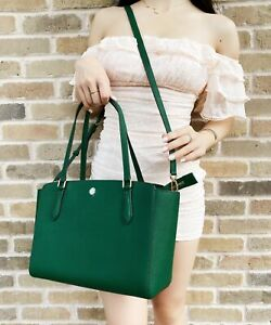 Tory Burch Emerson Small Top Zip Tote Crossbody Emerald Stone Green Leather