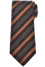 Isaia Napoli 7 Fold Tie Silk Brown Orange Stripe 06TI0199 $230
