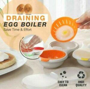 Draining Egg Boiler Set Edible Silicone Double Microwave Egg Poacher Cookware