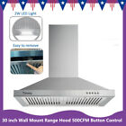 """30"""" Wall Mount Range Hood Stainless Steel Top Vent Filter Button Control 500 CFM photo"""