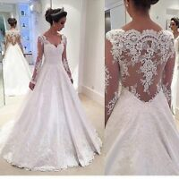 Lace Satin Sheer Back Wedding Dresses A-Line Long Sleeve Bridal Gown Custom Size