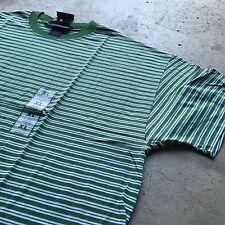 90s VTG NWT Striped GRUNGE T Shirt SURF Green XL White SKATE VAPORWAVE guess