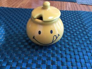 Bright Yellow The Mustard Shop Mustard Pot Norwich Smiley Face