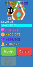 Bubble Gum Simulator - Gingerbread Shard - Maxed - Secret Pet - 1 in 1M