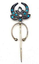 Fibula Brooch Pin Antique Turquoise Pearl